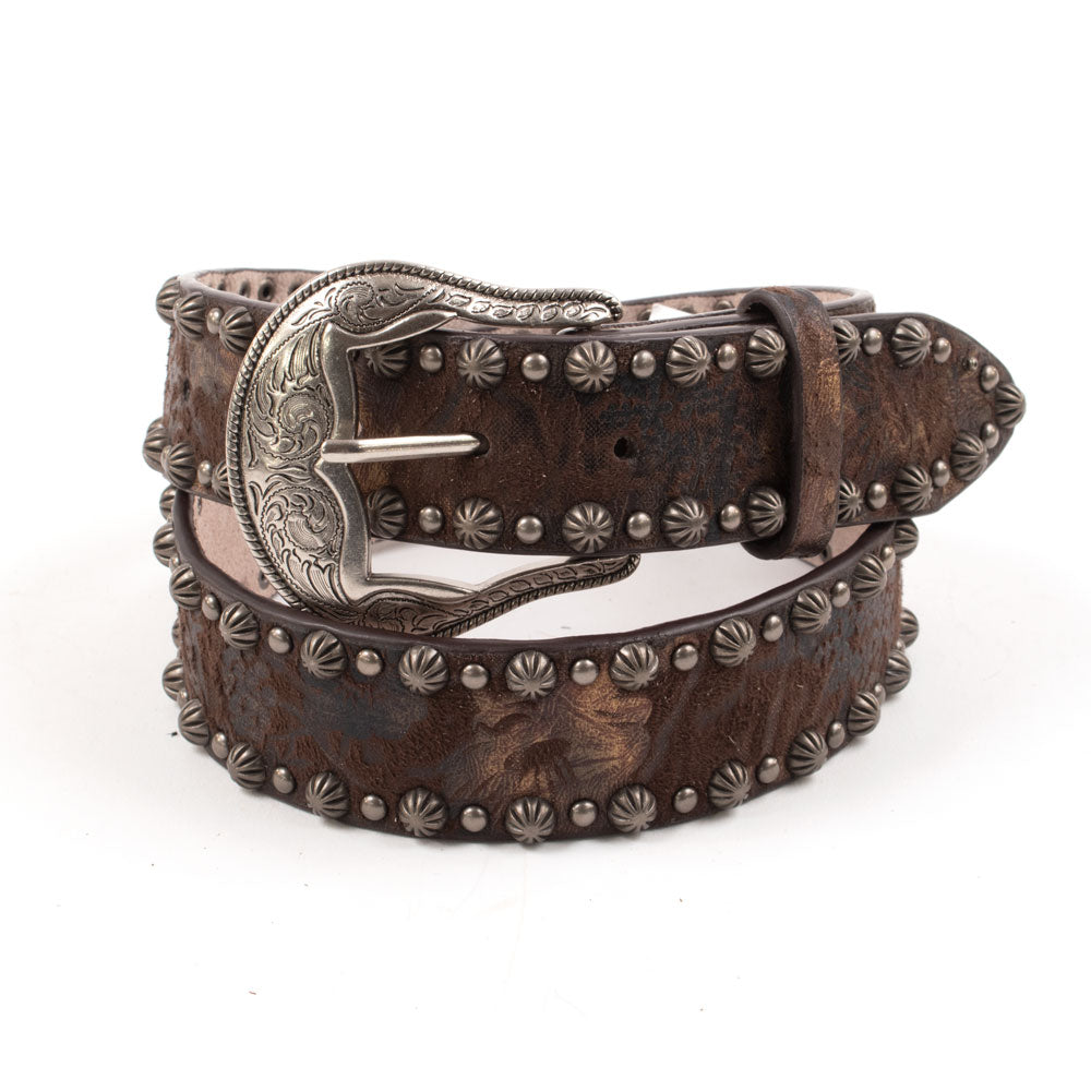 Angel Branch Bronze Floral Print Studded Belt WOMEN - Accessories - Belts M&F WESTERN PRODUCTS Teskeys