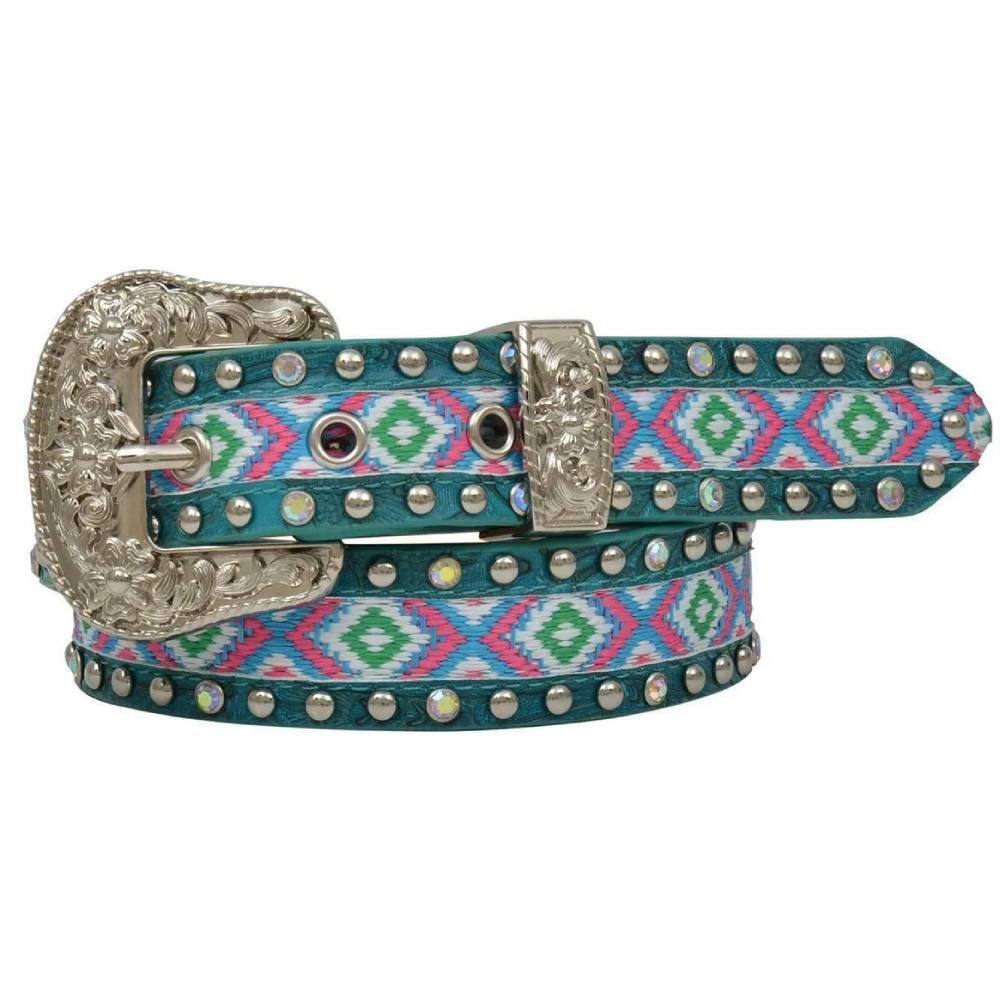 Angel Ranch Kid's Western Girls Belt -  Turquoise and Aztec KIDS - Accessories - Belts M&F Western Products Teskeys