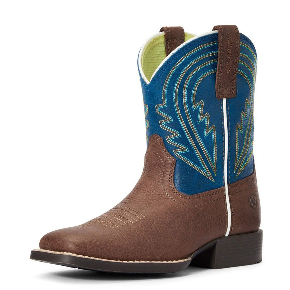 Ariat Kids' Lil' Hoss Chocolate/Navy Square Toe Boots KIDS - Footwear - Boots Ariat Footwear Teskeys
