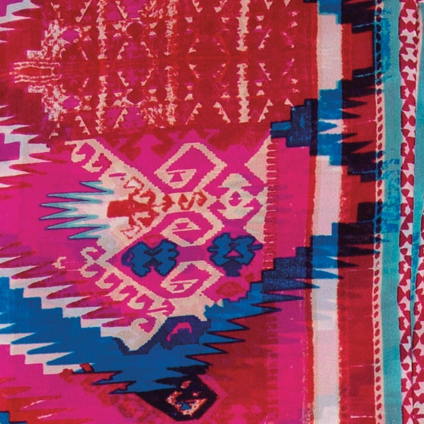 Aztec Silk Wild Rag - Pink & Blue ACCESSORIES - Additional Accessories - Wild Rags & Scarves WYOMING TRADERS Teskeys