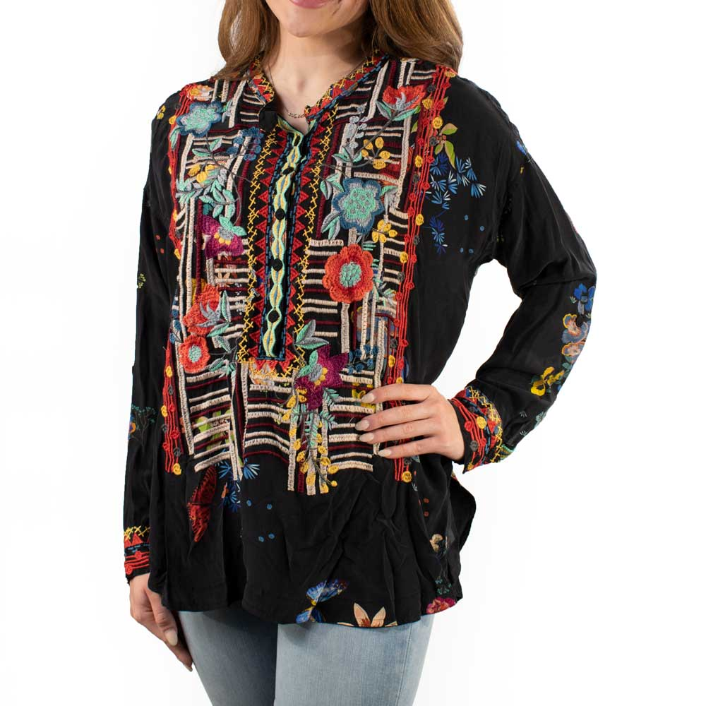 Johnny Was Bracciana Embroidered Silk Blouse WOMEN - Clothing - Tops - Tunics JOHNNY WAS COLLECTION Teskeys