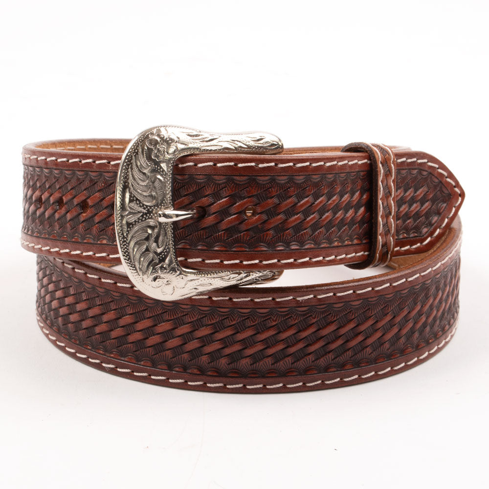 Bridger Leather Basket Hand-Tooled Belt MEN - Accessories - Belts & Suspenders Beddo Mountain Leather Goods Teskeys