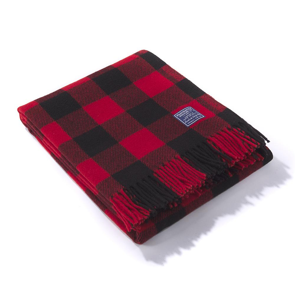 Faribault Wool Buffalo Check Throw - Red/Black HOME & GIFTS - Home Decor - Blankets + Throws Faribault Woolen Mill Co. Teskeys