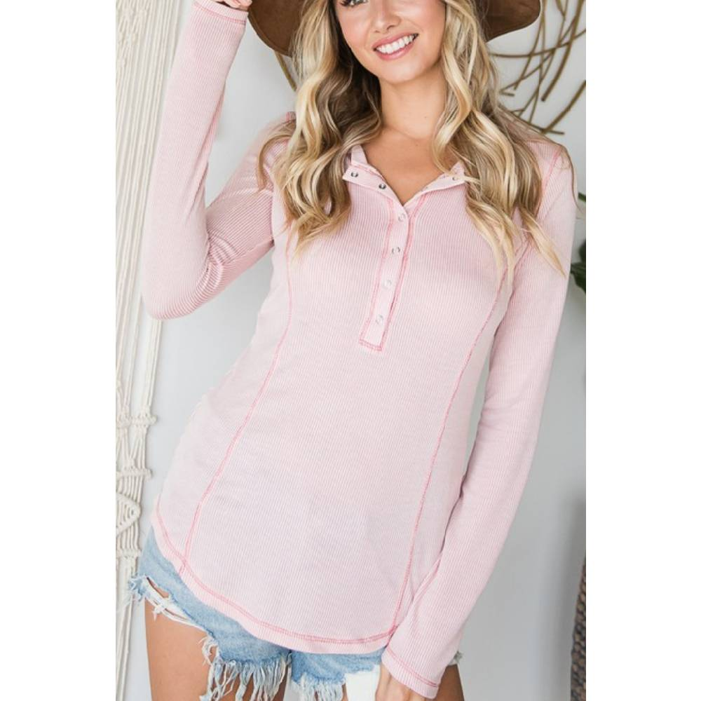 Women's Long Sleeve Two-Toned Henley Top - Pink WOMEN - Clothing - Tops - Long Sleeved Bucket List Teskeys