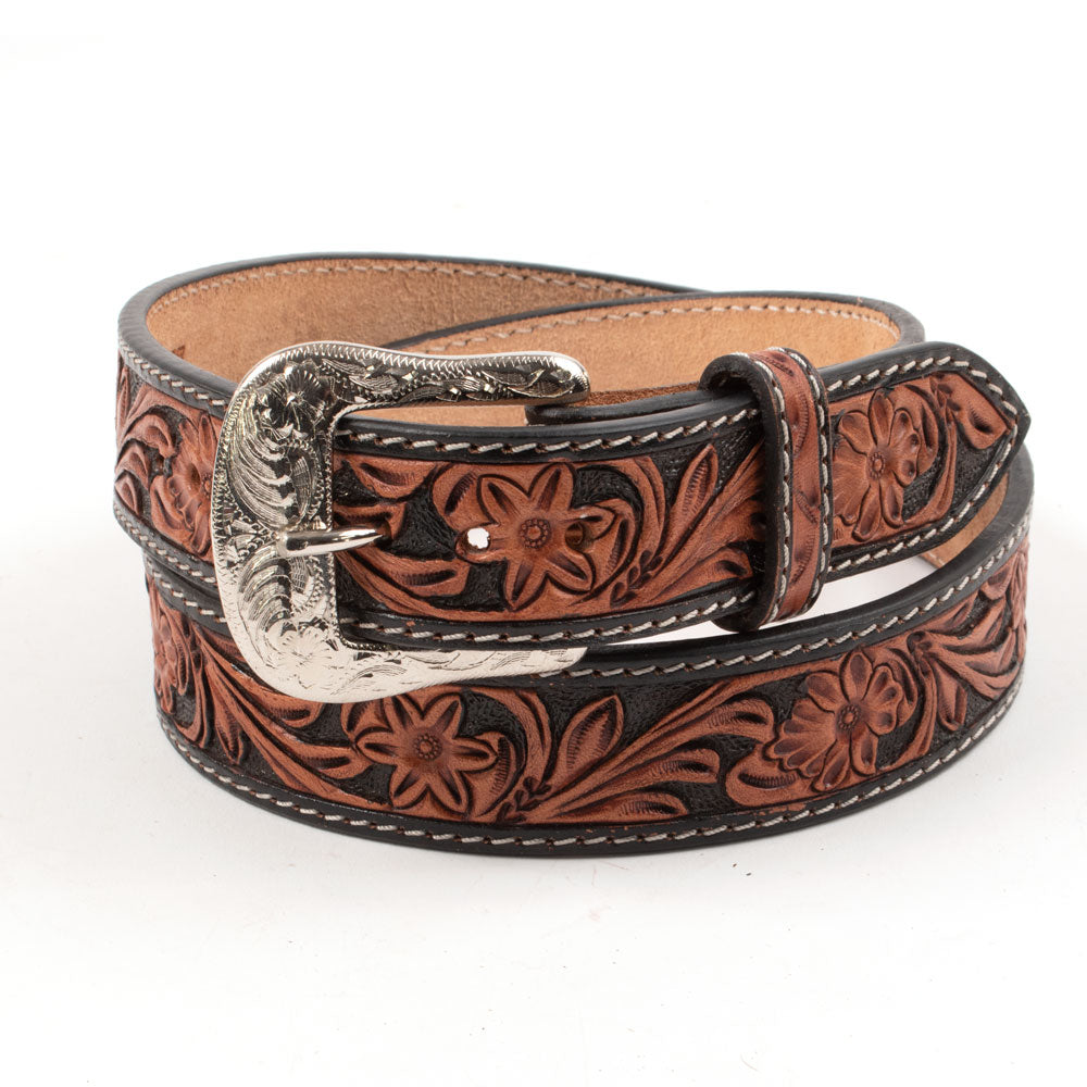 Kids Gallatin Two-Tone Leather Floral Hand-Tooled Belt KIDS - Accessories - Belts Beddo Mountain Leather Goods Teskeys