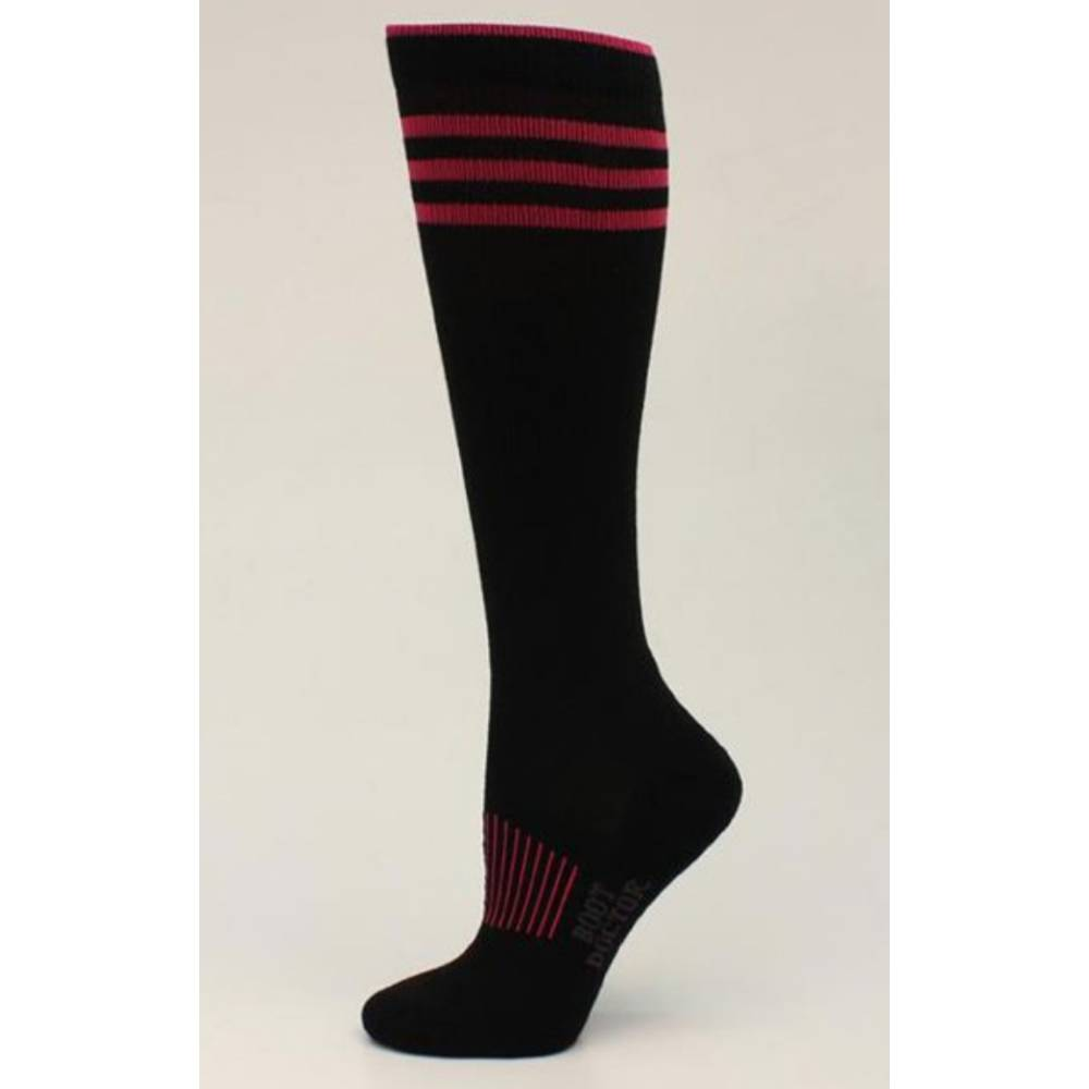 Boot Doctor Over The Calf Socks - Black/Pink WOMEN - Clothing - Intimates & Hosiery M&F Western Products Teskeys