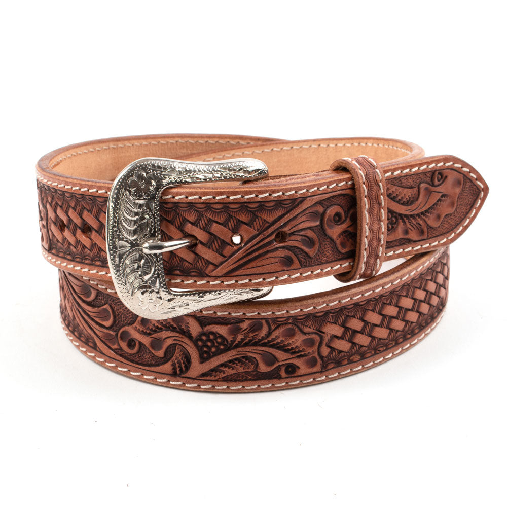 Glacier Leather Floral and Basket Hand-Carved Belt MEN - Accessories - Belts & Suspenders Beddo Mountain Leather Goods Teskeys