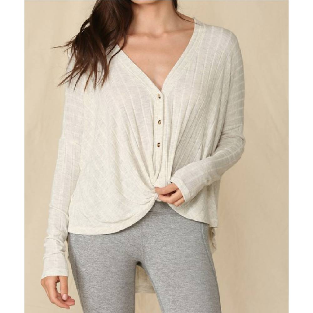 V-neck Rib Button Down Top - Oatmeal