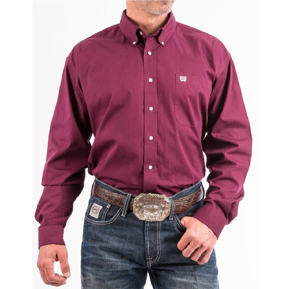 Cinch Burgundy Solid Button Down Shirt MEN - Clothing - Shirts - Long Sleeve Shirts CINCH Teskeys