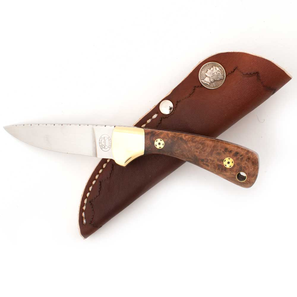 Ed Desch Golden Amboyna Handle Custom Knife Knives - Knives Ed Desch Teskeys