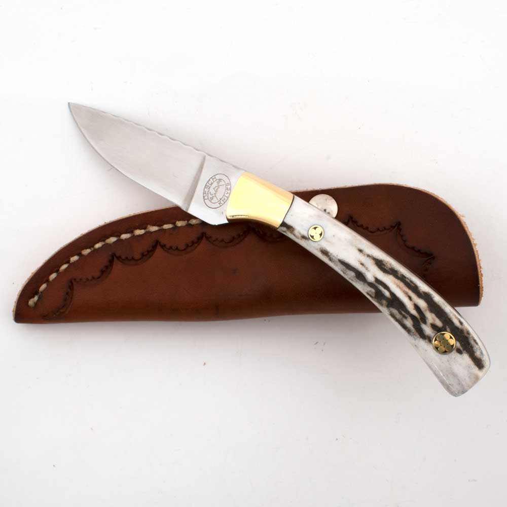 Ed Desch Red Deer Stag Handle Custom Knife Knives - Knives Ed Desch Teskeys