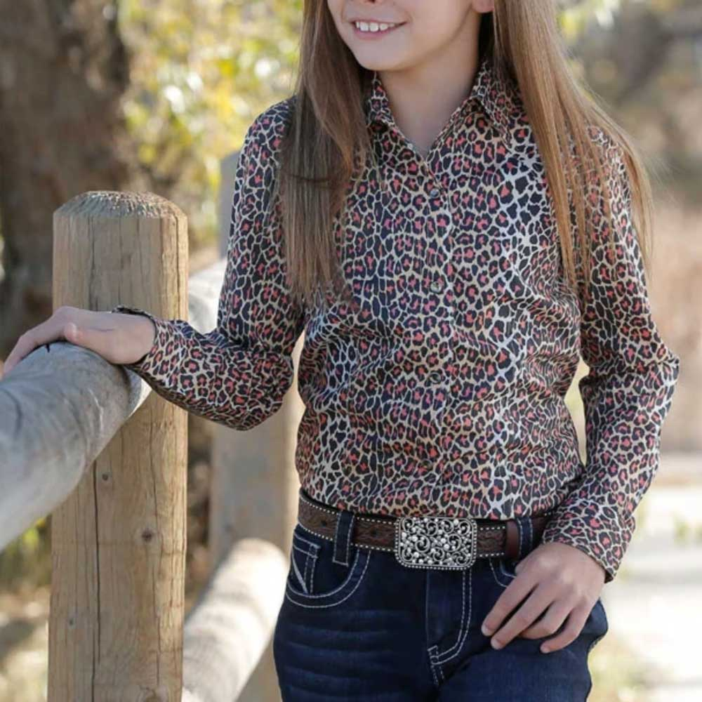 Cruel Girl Girls Cheetah Print Long Sleeve Western Shirt KIDS - Girls - Clothing - Tops - Long Sleeve Tops CINCH Teskeys