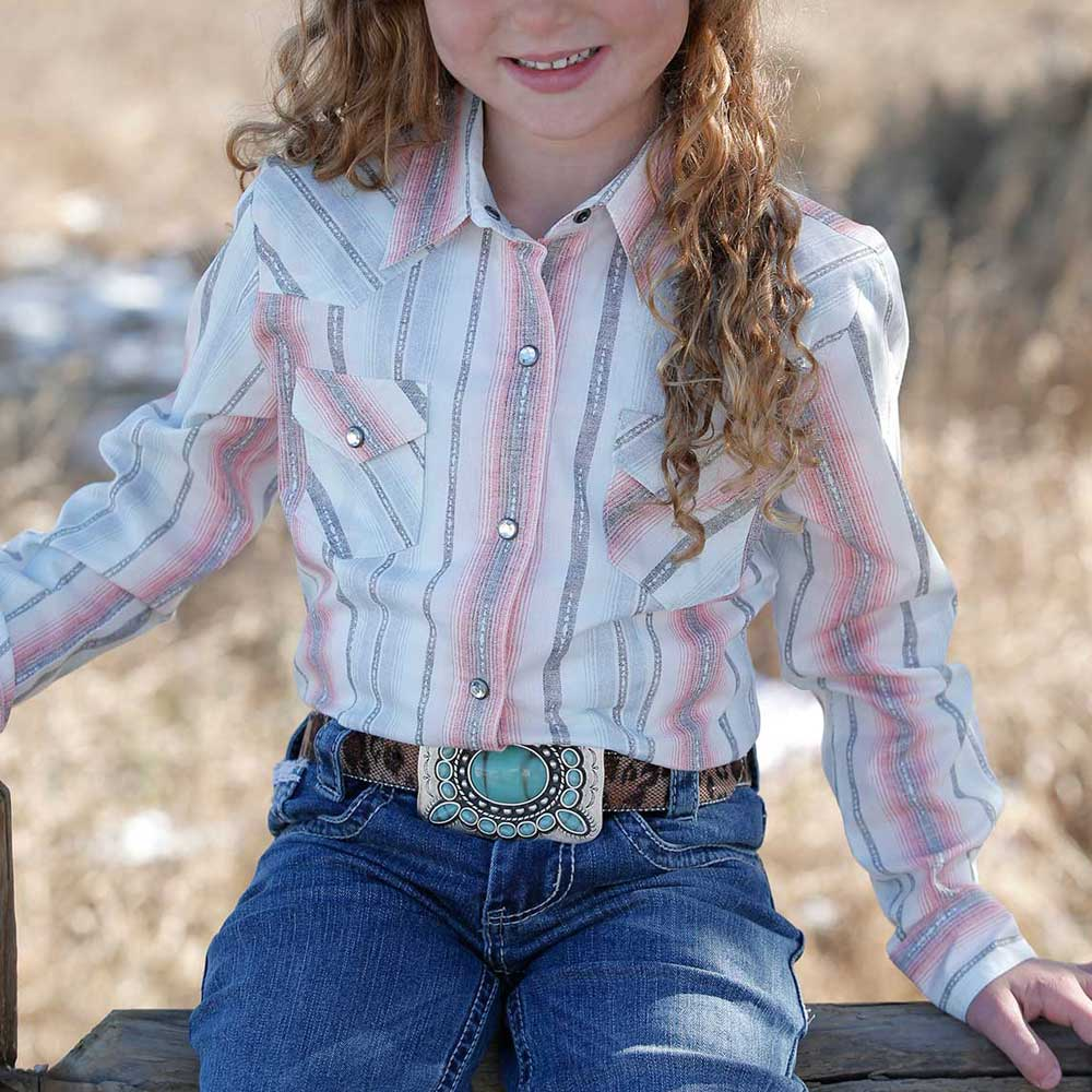 Cruel Girls Pink and Grey Stripe Western Shirt KIDS - Girls - Clothing - Tops - Long Sleeve Tops CINCH Teskeys