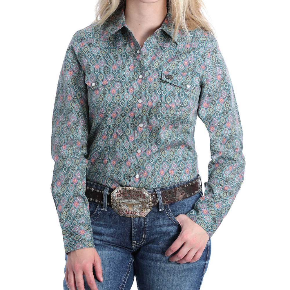 Cinch Blue Multi Print Snap Shirt WOMEN - Clothing - Tops - Long Sleeved CINCH Teskeys