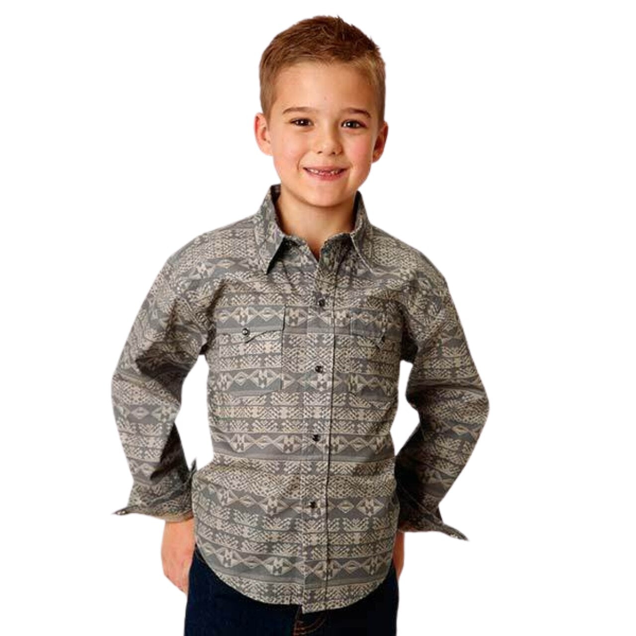Roper Boy's L/S Pyramid Print Shirt KIDS - Boys - Clothing - Shirts - Long Sleeve Shirts ROPER APPAREL & FOOTWEAR Teskeys