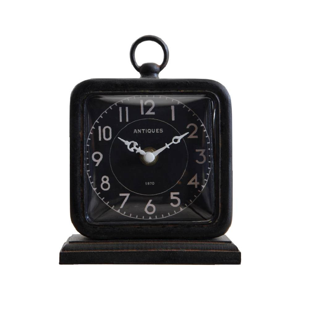 Black Pewter Table Clock HOME & GIFTS - Home Decor - Decorative Accents Creative Co-Op Teskeys