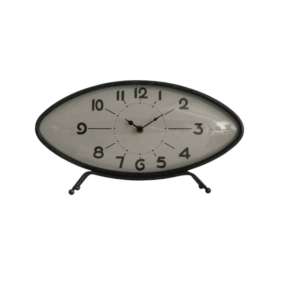 "Large 14"" Black Metal Clock HOME & GIFTS - Home Decor - Decorative Accents Creative Co-Op Teskeys"