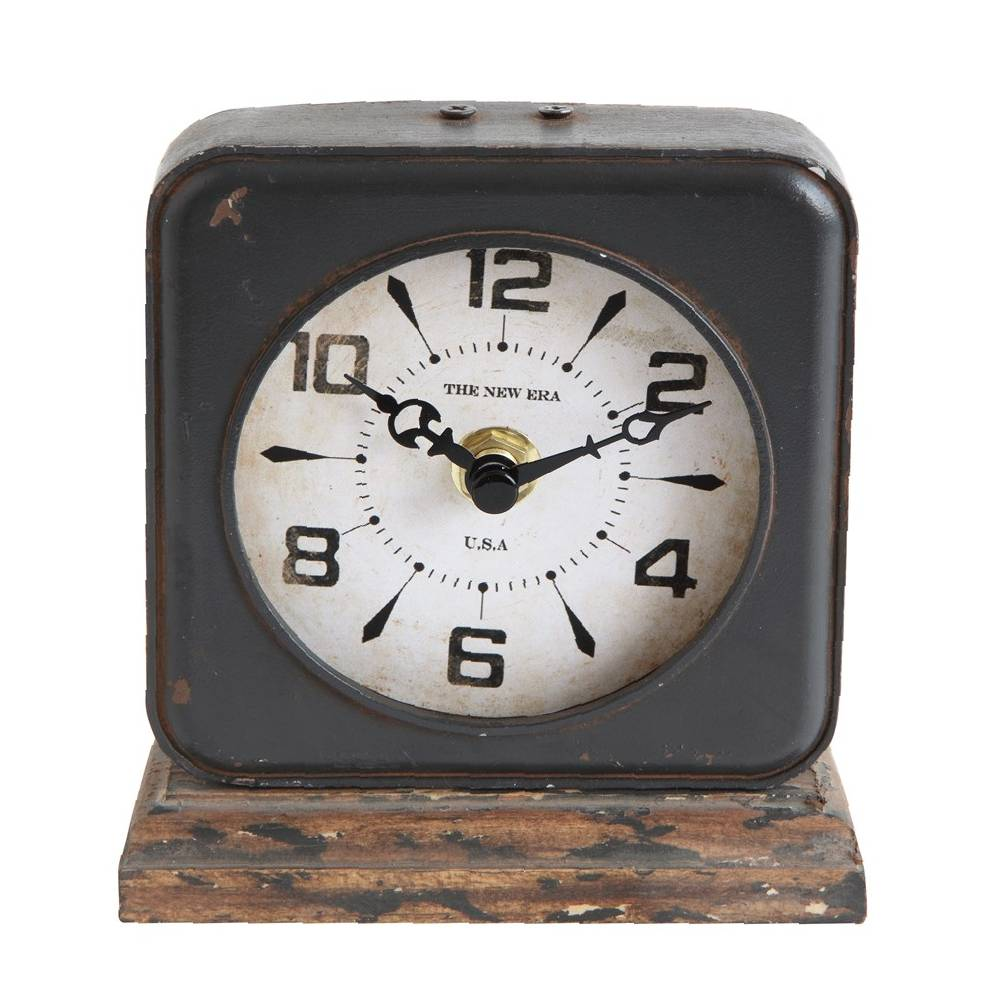 Distressed Pewter Ivory Faced Clock HOME & GIFTS - Home Decor - Decorative Accents Creative Co-Op Teskeys