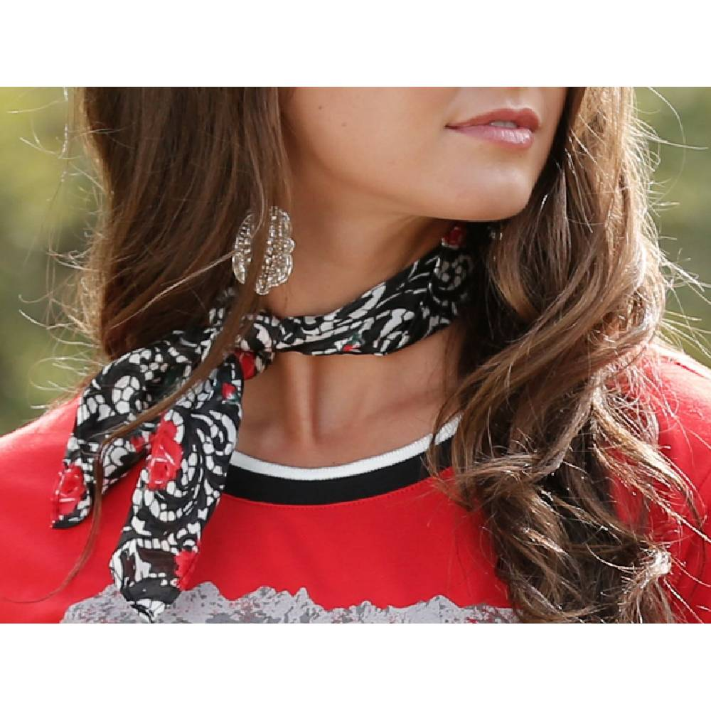 Cruel Girl Skinny Wild Rag - Lace & Rose Print WOMEN - Accessories - Scarves & Wraps Cruel Denim Teskeys