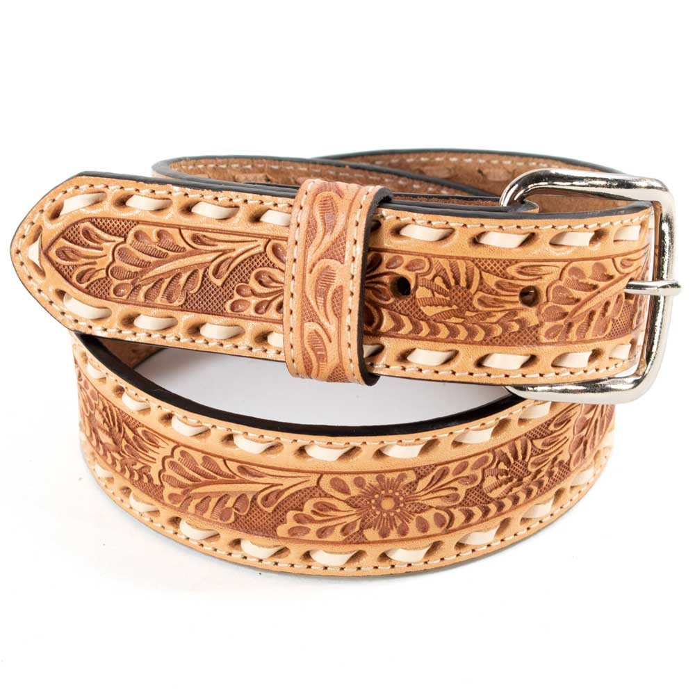 Kids Natural Floral Inlay Belt with Buck Stitch Border KIDS - Accessories - Belts M&F WESTERN PRODUCTS Teskeys