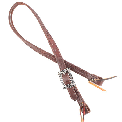 "Teskey's 1"" Slit Ear Headstall With Silver And Black Buckles Tack - Headstalls - One Ear Teskey's Teskeys"