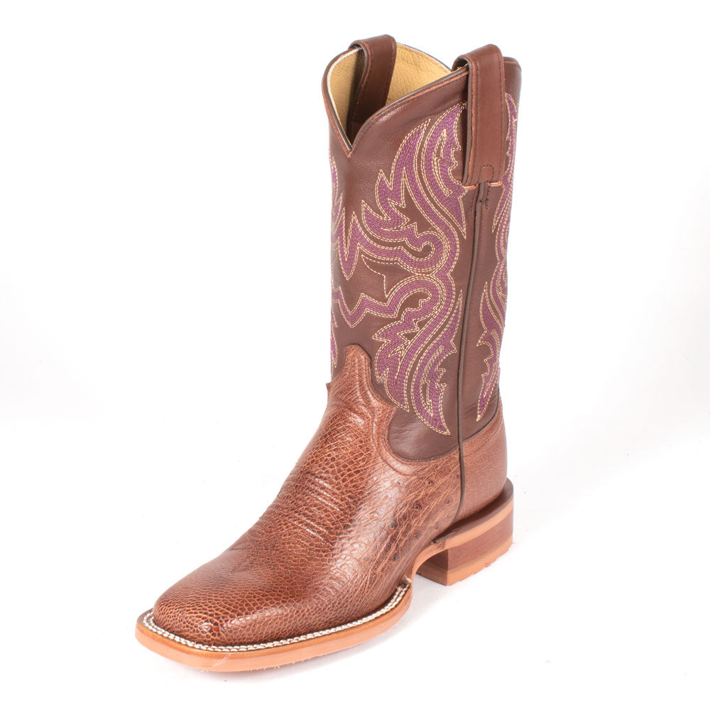 Justin Trinity Antique Brown Smooth Ostrich Boot