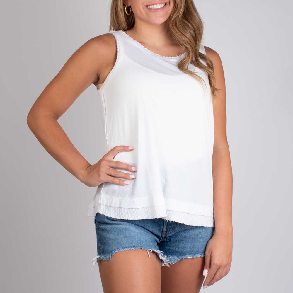 Laguna Rib Thermal Tank - White WOMEN - Clothing - Tops - Sleeveless DYLAN Teskeys