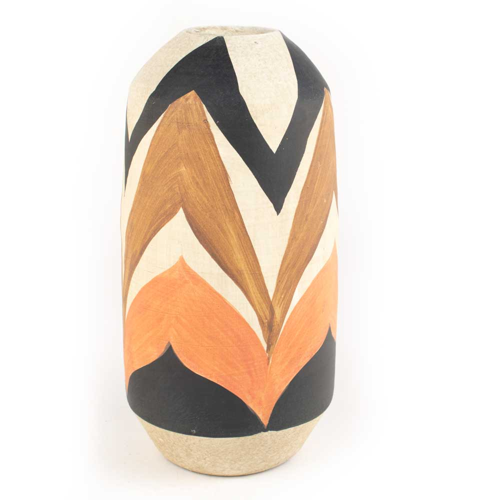 Kalalou Small Tan & Brown Ceramic Vase HOME & GIFTS - Home Decor - Decorative Accents KALALOU Teskeys