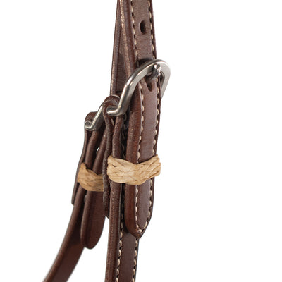 Patrick Smith Harness Leather One Ear With Pineapple Knot Ties Tack - Headstalls - One Ear Patrick Smith Teskeys