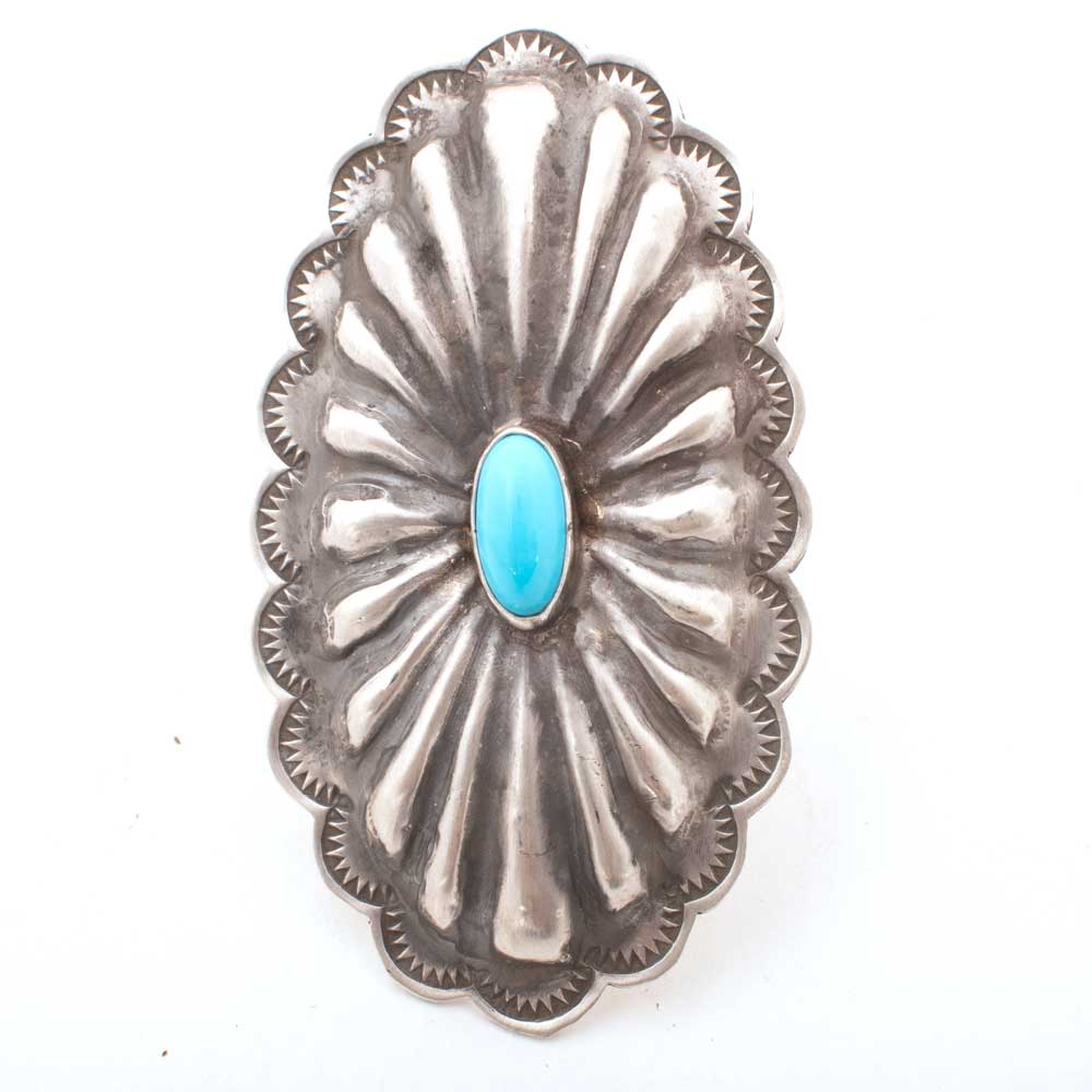 Large Concho w/ Turquoise Ring - Size 8