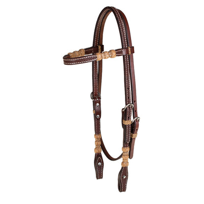 Teskey's Basket Stamped Natural Rawhide Browband Headstall Tack - Headstalls - Browband Teskey's Teskeys