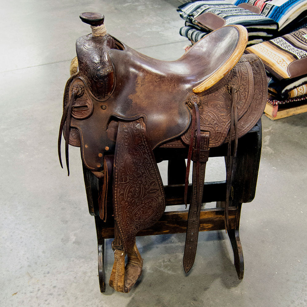 "16"" USED C.W CANNON SEAT RIG RANCH SADDLE Saddles - Used Saddles - RANCH C.W Cannon Teskeys"