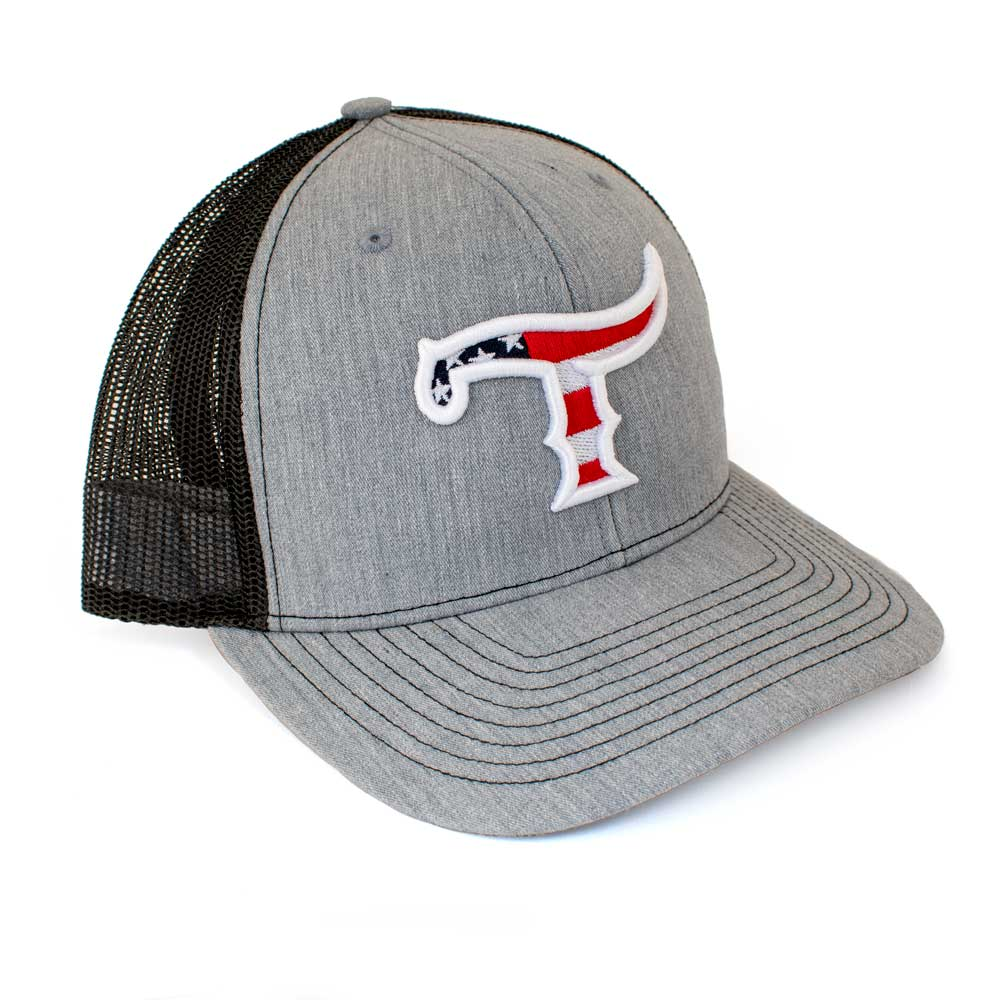 Teskey's T Logo American Flag Cap - Heater Grey/Black, American Flag Logo TESKEY'S GEAR - Baseball Caps RICHARDSON Teskeys