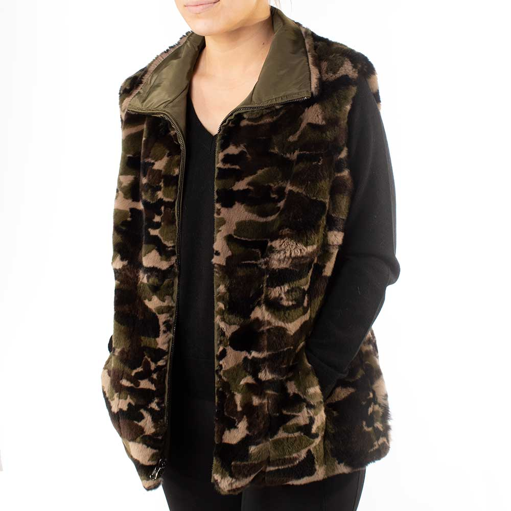 Morris Kaye & Sons Reversible Camo Rabbit Fur Vest WOMEN - Clothing - Outerwear - Vests MORRIS KAYE & SONS Teskeys