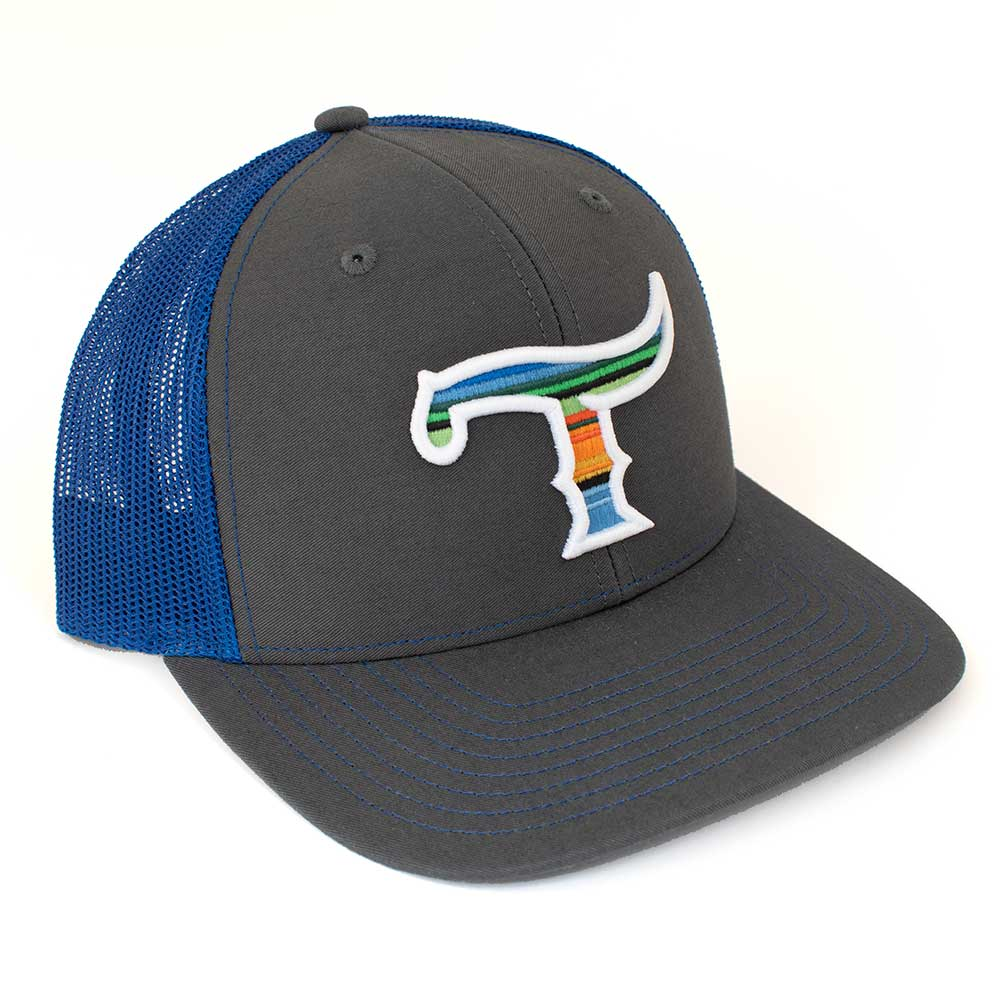 Teskey's T Logo Cap - Charcoal/Royal, Serape/White Logo TESKEY'S GEAR - Baseball Caps RICHARDSON Teskeys