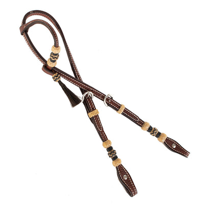 Teskey's Basket Stamped One Ear Headstall With Rawhide Tack - Headstalls - One Ear Teskey's Teskeys