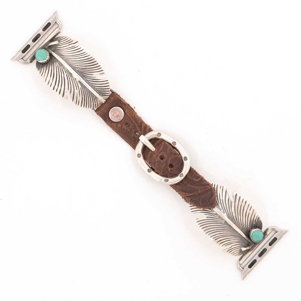42mm Silver Feather w/ Turquoise Apple Watchband WOMEN - Accessories - Jewelry - Watches & Watch Bands WILD HORSE WATCHIN' BANDS Teskeys