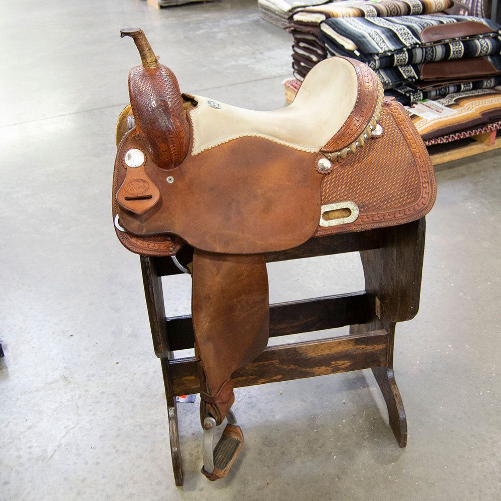 "14.5"" USED TESKEY'S BARREL SADDLE Saddles - Used Saddles - BARREL Teskey's Teskeys"