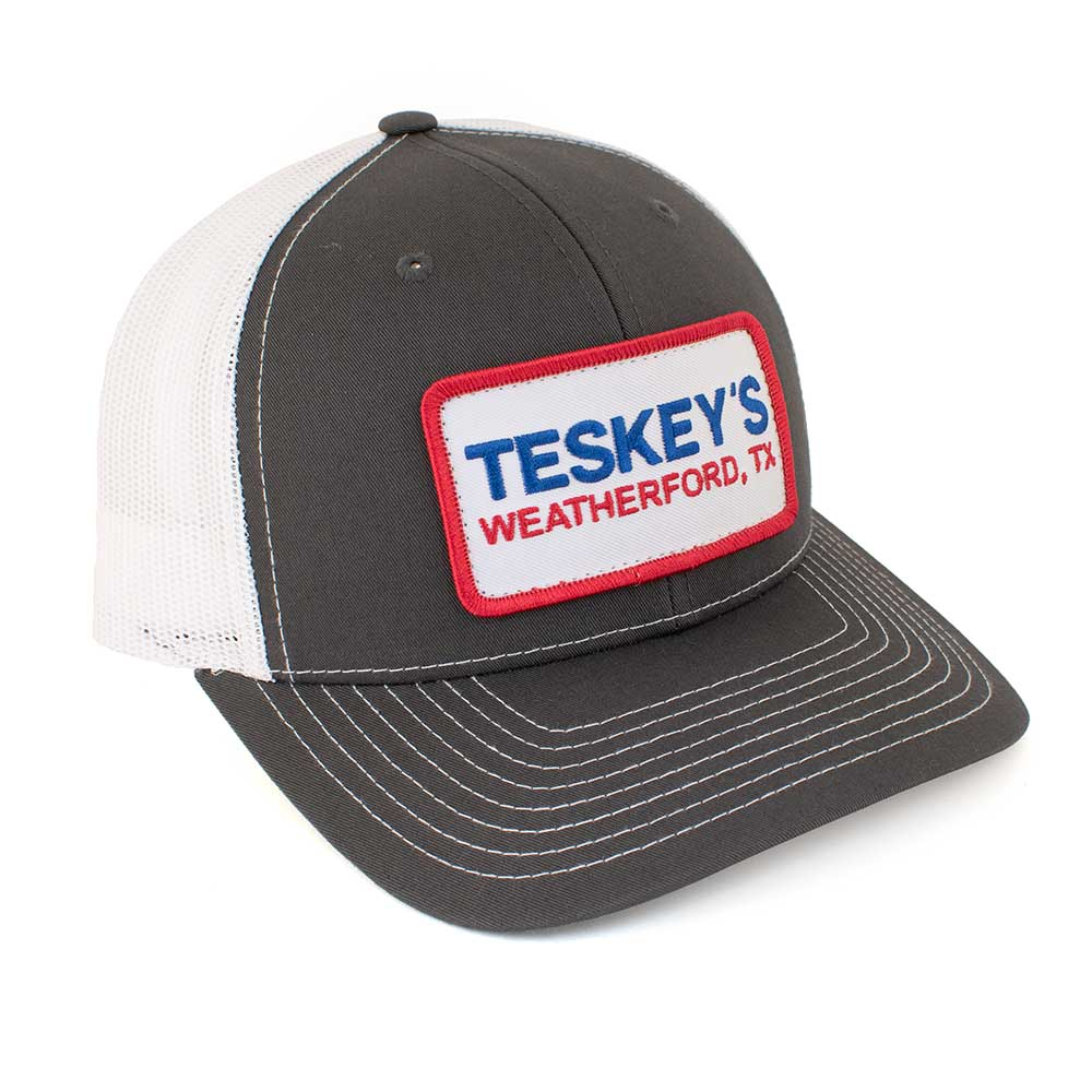 Teskey's Weatherford TX Patch Cap - Charcoal/White TESKEY'S GEAR - Baseball Caps RICHARDSON Teskeys