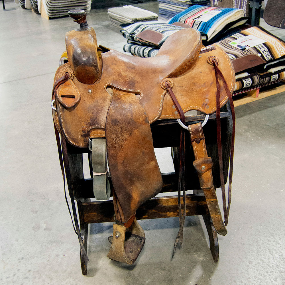 "14"" USED TESKEY'S RANCH STRIPDOWN SADDLE Saddles - Used Saddles - RANCH Teskey's Teskeys"