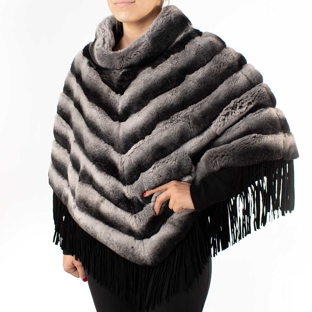 Morris Kaye & Sons Rabbit Poncho Chincill WOMEN - Clothing - Outerwear - Jackets MORRIS KAYE & SONS Teskeys
