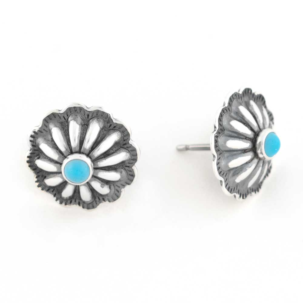 Small Concho Earring with Turquoise Stone WOMEN - Accessories - Jewelry - Earrings SUNWEST SILVER Teskeys