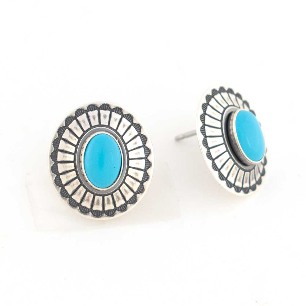 Sterling Silver & Oval Turquoise Stone Earrings WOMEN - Accessories - Jewelry - Earrings SUNWEST SILVER Teskeys