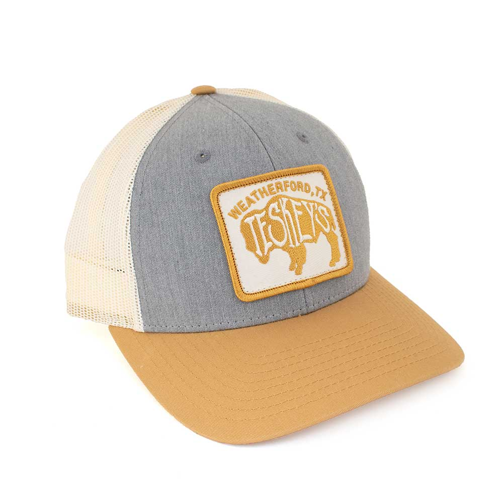 Teskey's Buffalo Logo Patch Cap - Heather Grey/Off White/Mustard TESKEY'S GEAR - Baseball Caps RICHARDSON Teskeys