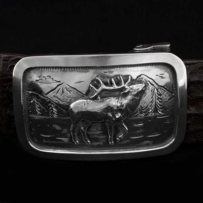 Comstock Heritage Sterling Silver Mason Elk Buckle ACCESSORIES - Additional Accessories - Buckles COMSTOCK HERITAGE Teskeys