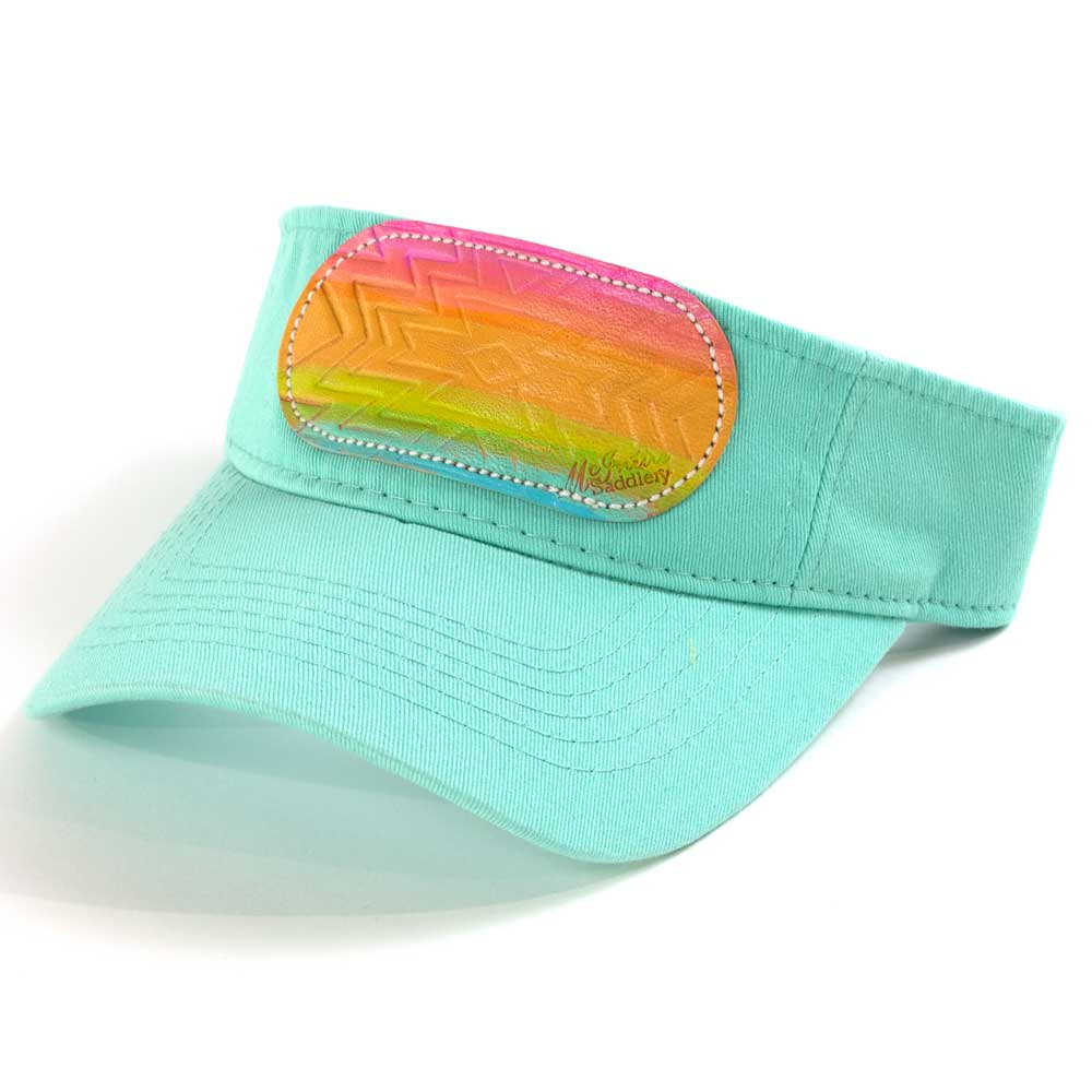 McIntire Saddlery Rainbow Aztec Visor Mint WOMEN - Accessories - Caps, Hats & Fedoras MCINTIRE SADDLERY Teskeys