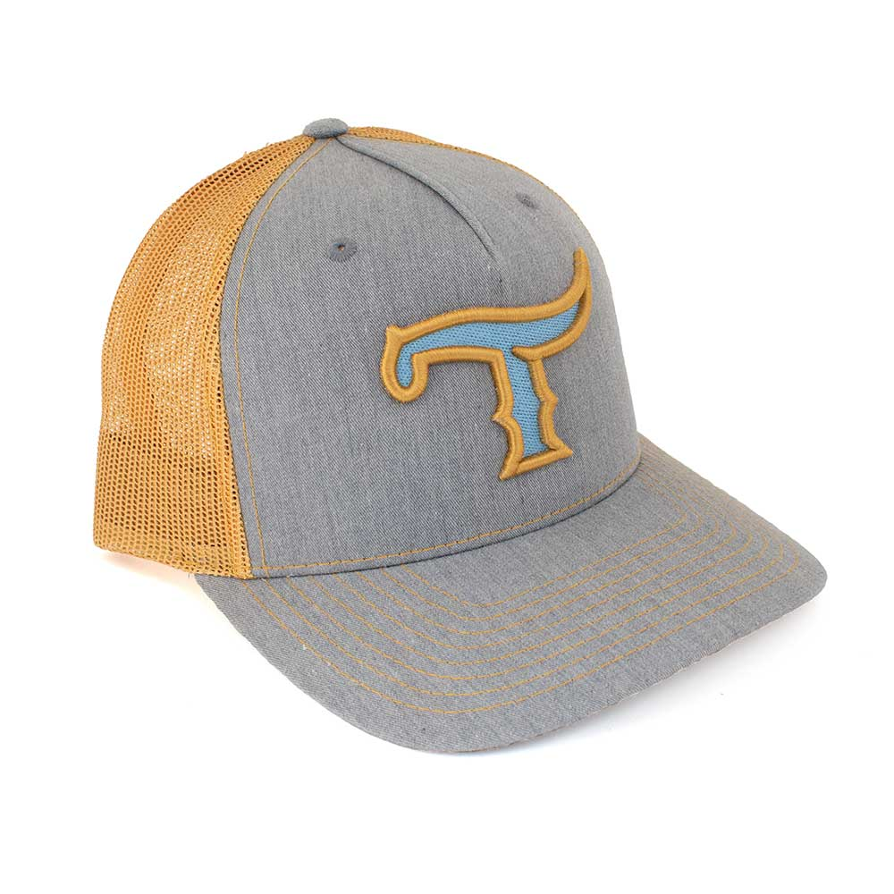 Teskey's T Logo Cap - Heather Grey/Gold, Turquoise/Gold Logo TESKEY'S GEAR - Baseball Caps RICHARDSON Teskeys