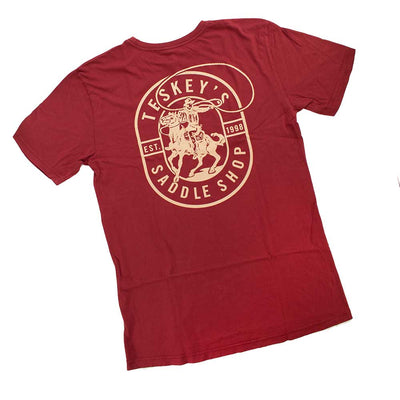Teskey's Cool Cowboy Tee - Dark Red TESKEY'S GEAR - SS T-Shirts OURAY SPORTSWEAR Teskeys