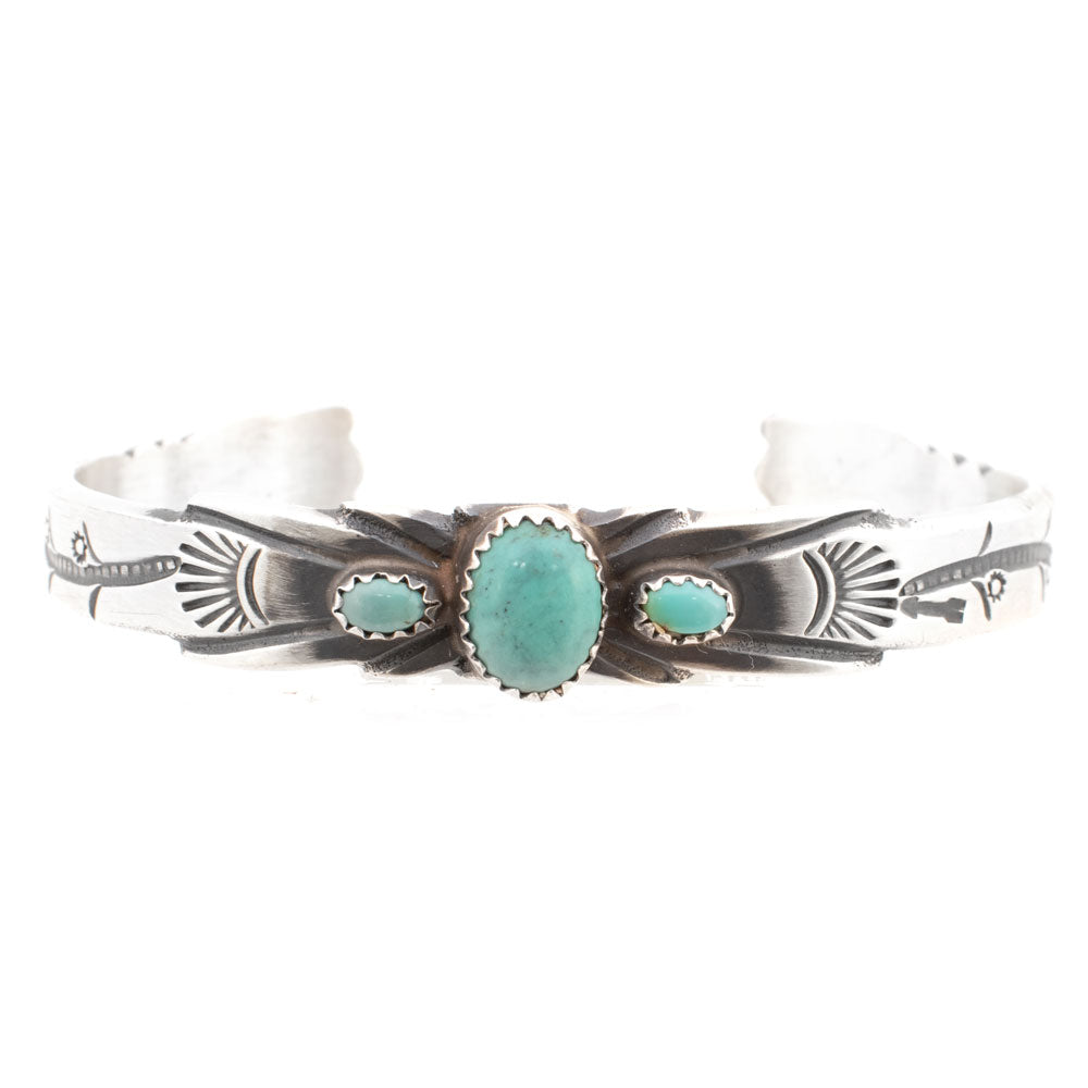 3 Stone Engraved Turquoise Cuff WOMEN - Accessories - Jewelry - Bracelets SUNWEST SILVER Teskeys