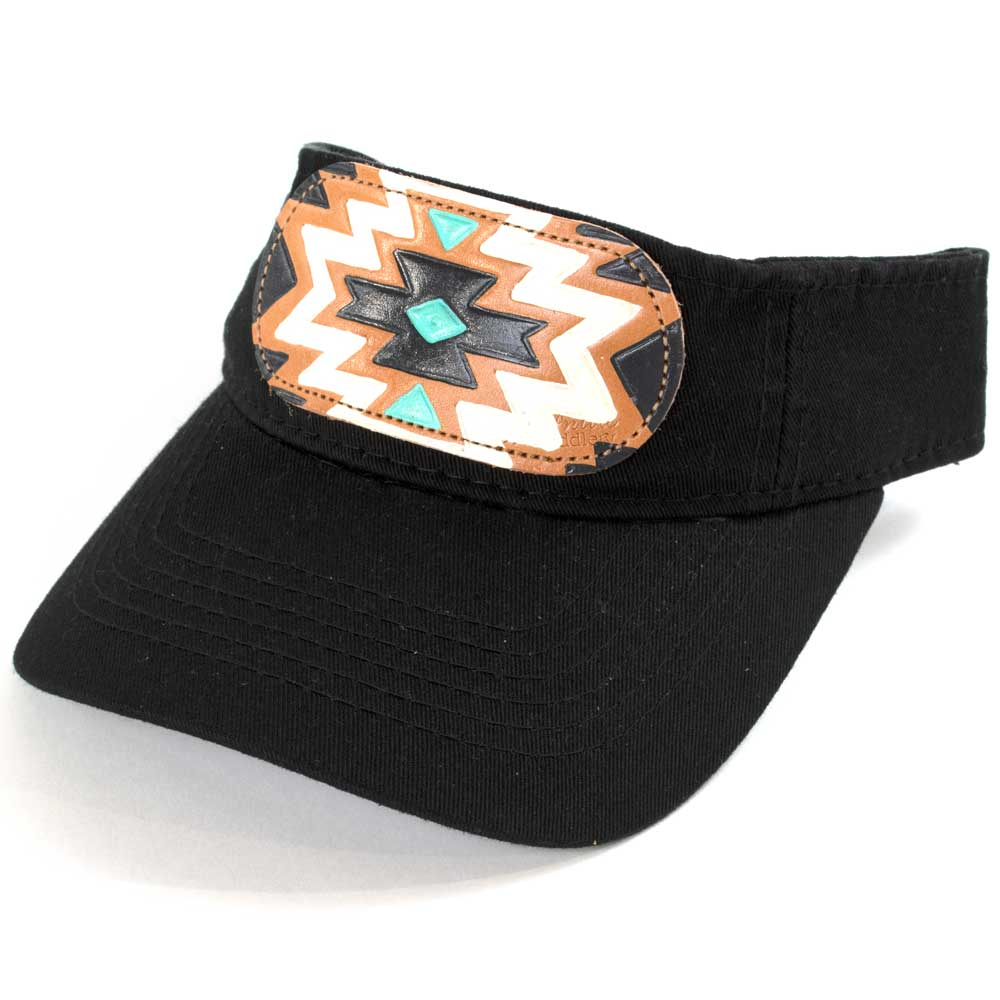 McIntire Saddlery Turqouise/Black Aztec Visor WOMEN - Accessories - Caps, Hats & Fedoras MCINTIRE SADDLERY Teskeys